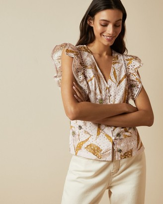 Ted Baker Cabana Broderie Anglaise Ruffle Blouse