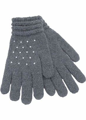 Undercover Lingerie Ltd Ladies Foxbury Soft Jacquard Gloves with Diamante Sparkles GL536 Grey