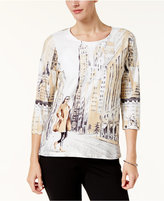 Alfred Dunner Petite Scenic-Print Top