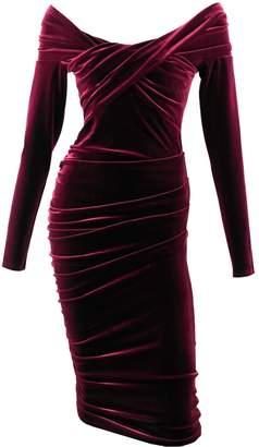 Me&Thee Cliff Hanger Red Wine Velvet Dress