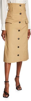 Victoria Beckham High-Waist Twill Midi Flare Skirt