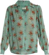 Masscob Gathered floral-print silk blouse