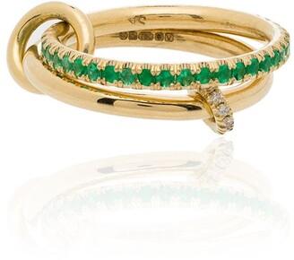 Spinelli Kilcollin 18kt Yellow Gold Emerald Diamond Link Ring