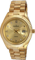 Peugeot Men's Gold Tone Stainless Steel Calendar Bracelet Watch 1053CH