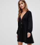Asos DESIGN Petite long sleeve smock dress with buttons and waist panel