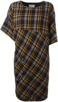 Maison Margiela asymmetric sleeve tartan dress - women - Viscose/Wool - 38