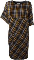 Maison Margiela asymmetric sleeve tartan dress