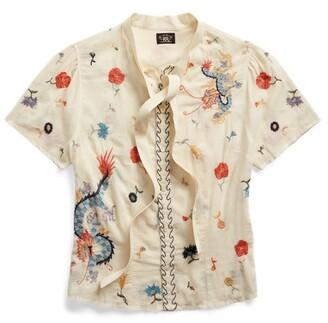 Ralph Lauren Embroidered Voile Tie-Neck Blouse