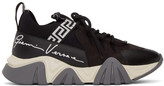 Versace Black and White Suede Squalo Sneakers