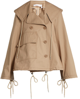 See by Chloe Double-breasted cropped cotton trench coat