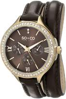 SO & CO New York Women's 5047S.2 SoHo Crystal-Accented Stainless Steel Watch with Wraparound Leather Band