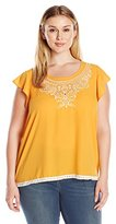 Eyeshadow Women's Plus Size Front Embroidered Top with Flutter Cap