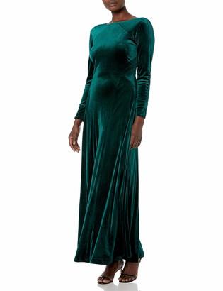Tahari ASL Women's Long Sleeve V-Back Velvet Gown