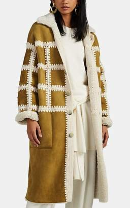 Ulla Johnson Women's Ellaria Crochet-Trimmed Shearling Coat - Beige, Tan