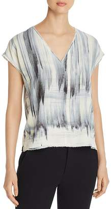 Go Silk Go by Raw-Edge Printed V-Neck Tee