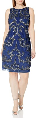 Adrianna Papell Women's Plus Size Sleeveless Beaded Short Dress