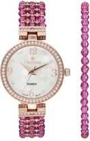 Croton Women's Austrian Crystal Watch & Beaded Bracelet Set