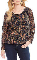 I.N. Studio Long Cut-Out Sleeve Cheetah Print Bubble Hem Top