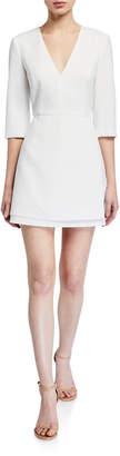 Alice + Olivia Stevie Double-Layer Dress w/ Waist Tie