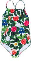 Oscar De La Renta Kids Flower jungle ruffle one-piece swimsuit