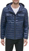 Kenneth Cole New York Men's Hooded Faux Leather Jacket