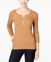 INC International Concepts Zip-Up Ribbed Sweater, Only at Macy's