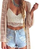 chendongdong Women Crochet Cami Tank Camisole Lace Floral Vest Bralette Blouse Bra Crop Top , L