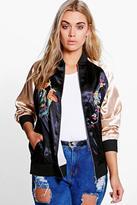 Boohoo Plus Ciara Embroidered Satin Bomber Jacket