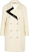 Bouchra Jarrar Faux patent leather-trimmed wool coat
