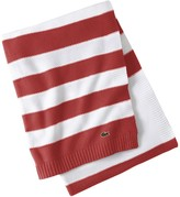Lacoste Striped Knit Throw - 60 x 70 - Rococco Red