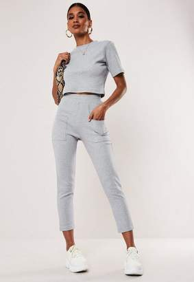Missguided Gray Co Ord Ribbed Pocket Detail Leggings