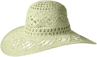 Ale By Alessandra womensFlorestaFloresta Intricate Weave Toyo Boho Floppy Hat Hat - Green - One Size