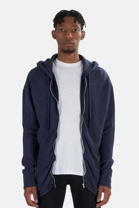 Alexander Wang V::ROOM Melange Denim High Soft Gauze Long Sleeve Zip Hoodie