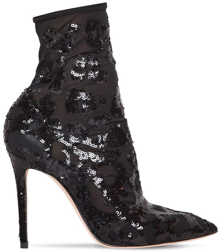Gianvito Rossi 105mm Sequin & Mesh Ankle Boots