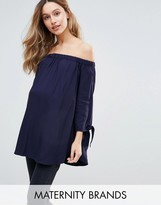 Isabella Oliver Bardot Top With Bow Sleeve Detail