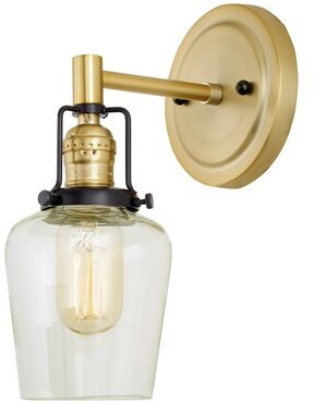Breakwater Bay Branton 1 Light Armed Sconce Fixture Finish Satin Brass Shopstyle
