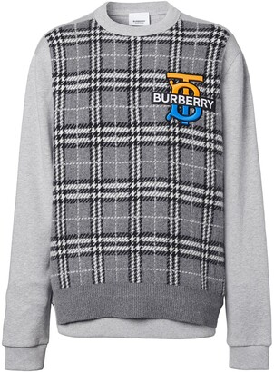 Burberry Monogram-Motif Check-Panel Sweatshirt