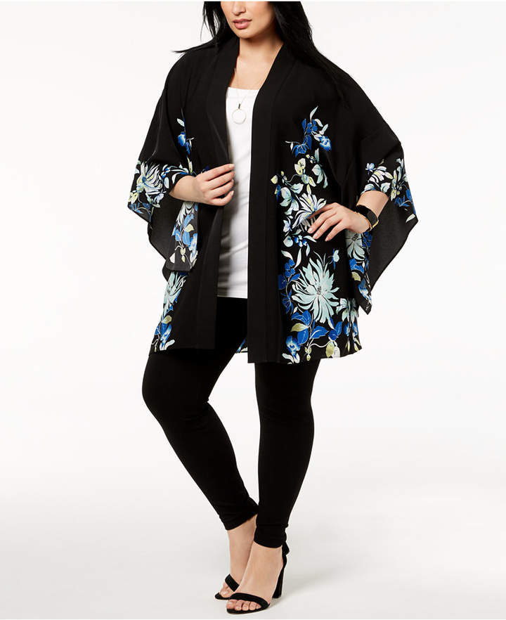 Alfani Plus Size Printed Kimono, Created for Macy's