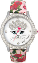 Betsey Johnson Women's Pink Rose Printed Imitation Leather Strap Watch 42mm BJ00131-79