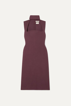 Bottega Veneta Cutout Knitted Turtleneck Dress - Burgundy