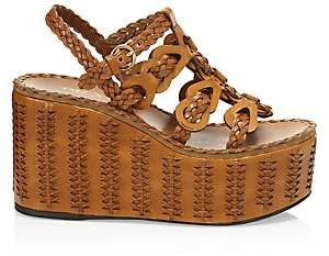 Prada Women's Braided Leather Platform Wedge Sandals