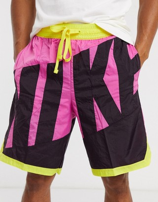 Nike Basketball throwback shorts with large logo in purple