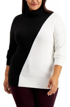 Alfani Plus Size Colorblock Turtleneck Sweater, Created for Macy's