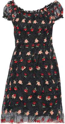 Anna Sui Embroidered Crinkled-organza Dress