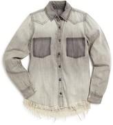 Blank NYC BLANKNYC Girls' Fringed Hem Western Shirt - Sizes S-XL