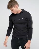 Armani Jeans Overhead Hoodie In Slim Fit Waffle Jersey In Black
