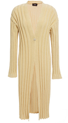 Theory Ribbed Cotton-blend Cardigan