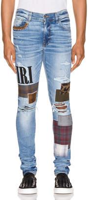 Amiri Grunge Patch Jean in Medium Crafted Indigo   FWRD