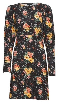 Dorothy Perkins Womens Black Floral Print Puff Sleeve Dress, Black