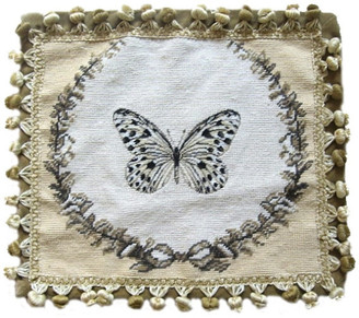 Petit Point Hkh International Butterfly Pillow, Tan and Black